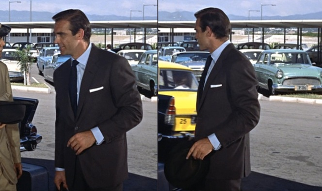 Bond makes a dashing impression at the Kingston airport.