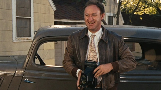 "According to David Newman and Robert Benton's screenplay, ""BUCK is a jovial, simple, big-hearted man. A little chubby, given to raucous jokes, knee-slapping and broad reactions. He is, in many ways, the emotional opposite of his brother."" Well-played, Hackman."