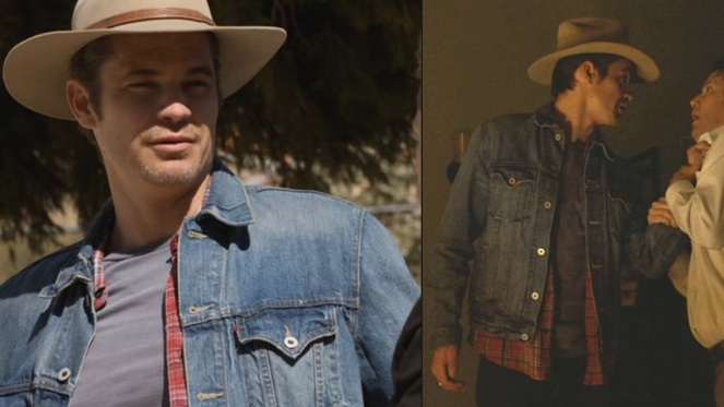 Justified Raylan S Double Denim And Red Plaid Shirt