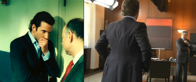 Eddie consults with his lawyer (left). A behind-the-scenes shot of Bradley Cooper and Robert De Niro (right).
