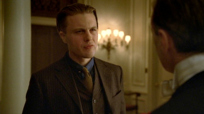 "Jimmy faces off with Nucky after learning the truth about his conception in ""A Return to Normalcy"" (1.12)."