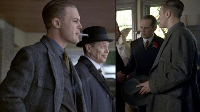Jimmy and Nucky talks shop at a klansman's funeral. Yes, a klansman's funeral.