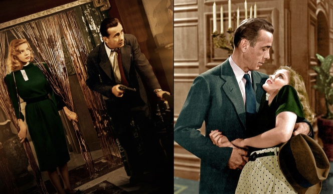 Bogart's suit colorized in brown and green.
