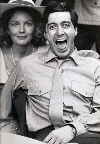 Diane Keaton remains stoic as Al Pacino goofs around on set.