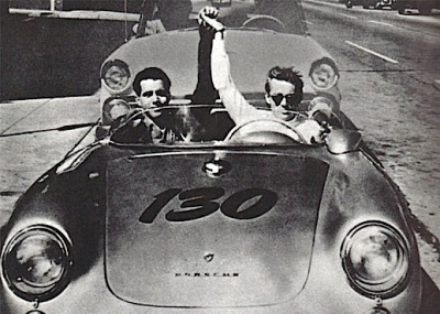 "James Dean and Rolf Rolf Wütherich in one of the last photos of the actor, taken September 30, 1955 hours before the fatal crash. Excited for the day's race, Dean raised Wütherich's hand and shouted ""We're going to win! "" as the photo was taken."