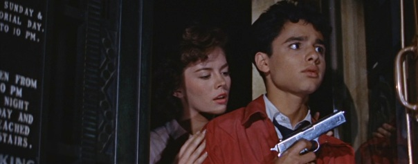 Image result for Sal Mineo in REbel without a cause with a gun cop fires twice in the air