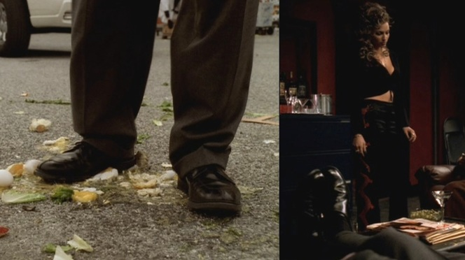 "Tony's bluchers as seen in ""All Due Respect"" (5.13) and monk shoes in ""Mergers and Acquisitions"" (4.08). Safe to assume that both are Allen Edmonds shoes."