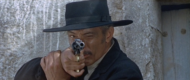 "When Lee Van Cleef is aiming a .45-caliber revolver with a 10"" barrel, this isn't the side you want to be looking at."