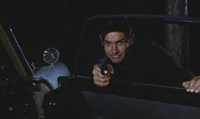 Bond takes aim with his seat-concealed Walther P38.