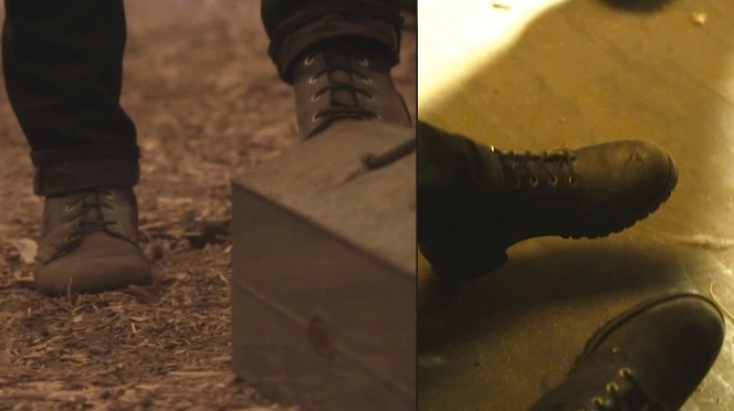 "Boyd's boots, as seen in ""Truth and Consequences"" (left) and ""Kin"" (right)."