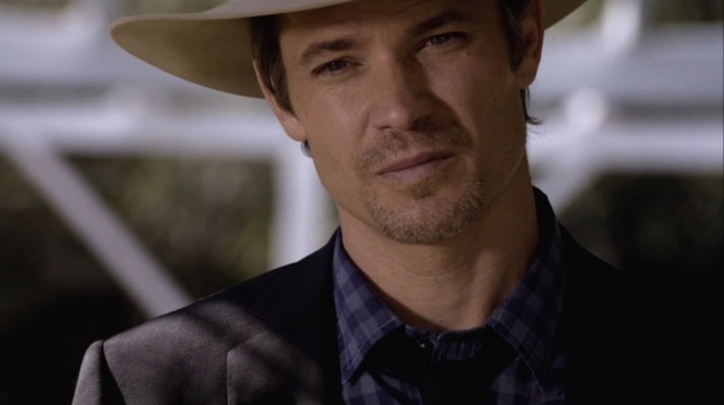 "Raylan stares down a potential adversary in ""Fixer"" (Episode 2.03)."