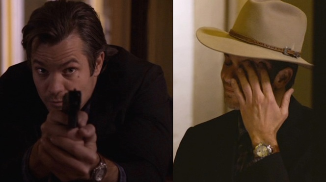 Raylan's wristwatch, seen in action and in thoughtful repose.