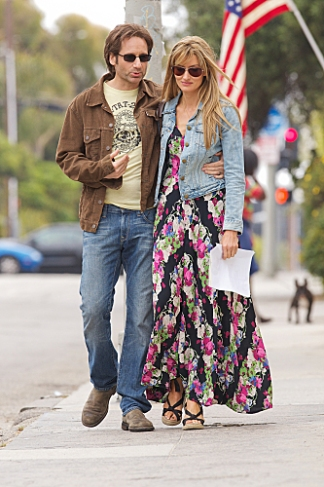 "David Duchovny and Natascha McElhone filming ""Love Song"", Episode 5.06 of Californication, in June 2011."