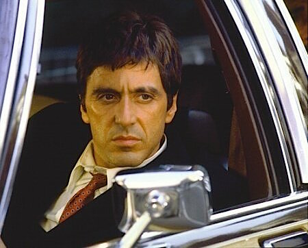 tony montana�s chalkstripe showdown suit in scarface