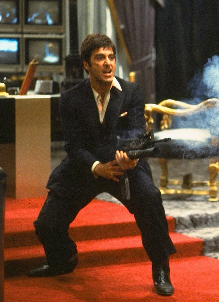 Tony Montana s Chalkstripe Showdown Suit in Scarface  2788601bb2