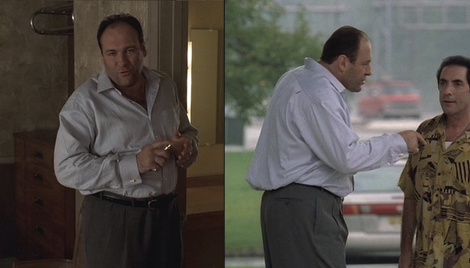 Even in rumpled clothing from an overnight poker game, Tony knows his style gives him an edge over Richie Aprile's old Havana shirts.