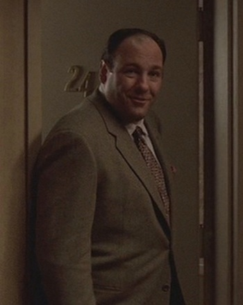 "James Gandolfini as Tony Soprano in ""The Happy Wanderer"", Episode 2.06 of The Sopranos (2000)."