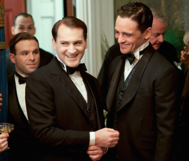 "Anatol Yusef, Michael Stuhlbarg, and Vincent Piazza as Meyer Lansky, Arnold Rothstein, and ""Lucky"" Luciano, respectively, on Boardwalk Empire (Episode 3.01 - ""Resolution"")."
