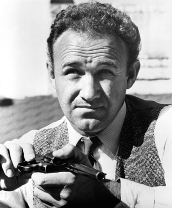 A production photo of Gene Hackman with Buck's Colt New Service.