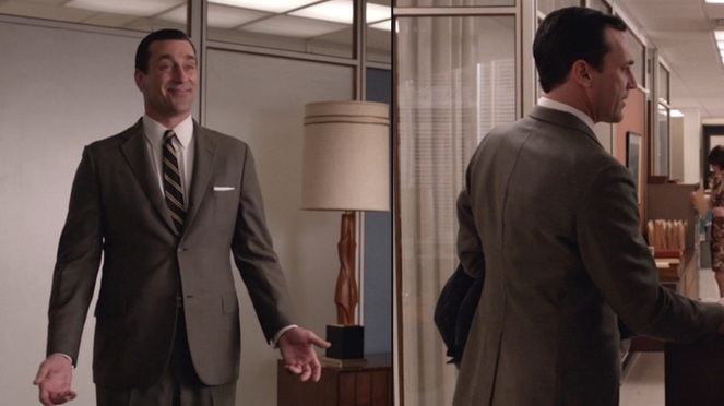 "Don shows off his brown suit with enthusiasm (left, in ""Favors"") and with more somber disdain (right, in ""In Care Of"")."