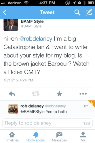 Rob himself was very helpful in confirming his jacket and watch on Twitter!