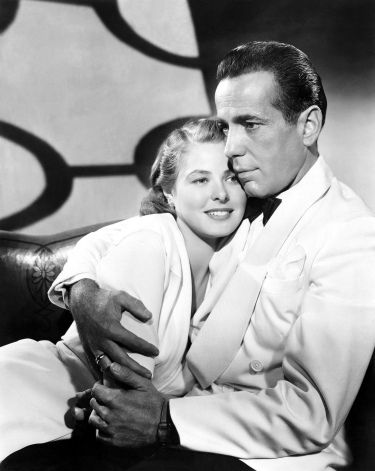 Humphrey Bogart and Ingrid Bergman in a 1942 studio portrait to promote Casablanca.
