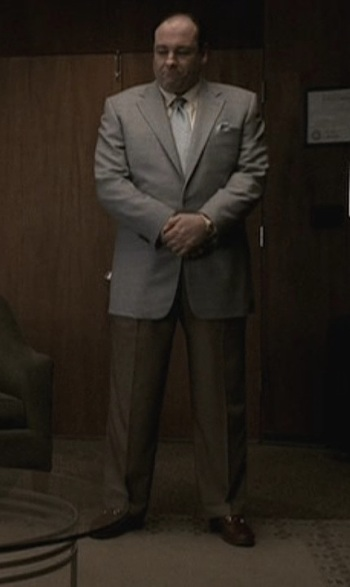 "James Gandolfini as Tony Soprano in ""Two Tonys"", episode 5.01 of The Sopranos."