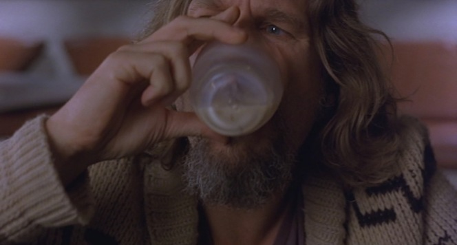 The Dude chugs.
