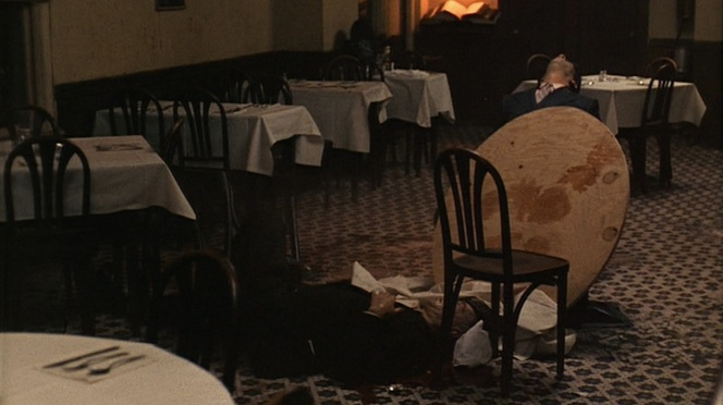 Sollozzo still sitting at the table recalls Dutch Schultz, while McCluskey - collapsed at the foot of it - would strangely be reflected by the killing of Carmine Galante in 1979.