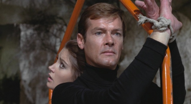 Roger Moore's eyebrow carries yet another scene.