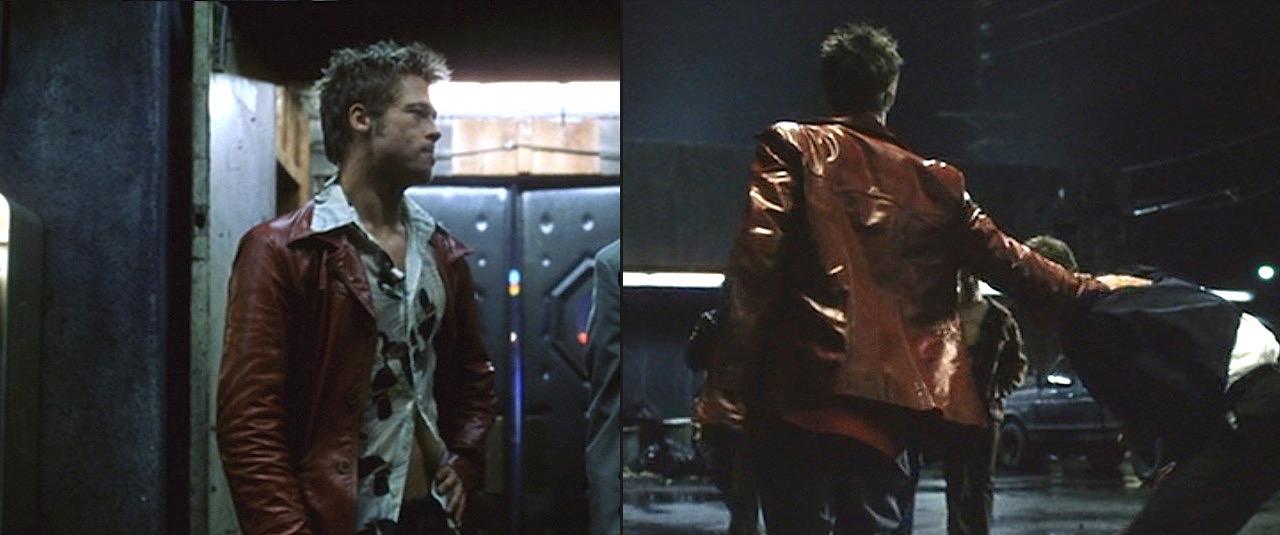 The Narrator FC Tyler Durden Brad Pitt Retro Red Leather Jacket for Mens