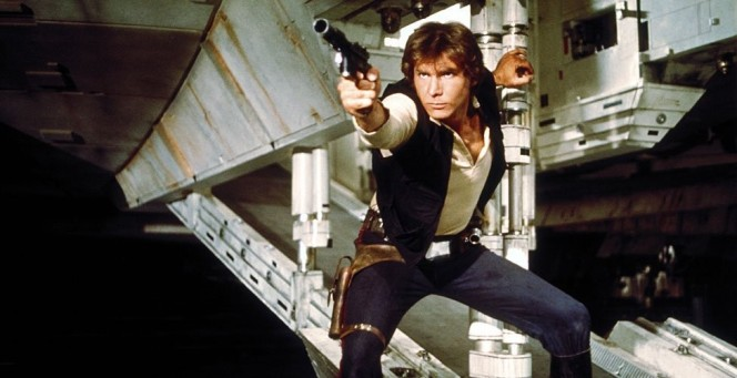 Harrison Ford as Han Solo in Star Wars (1977), later given the subtitle A New Hope after the sequels were released.