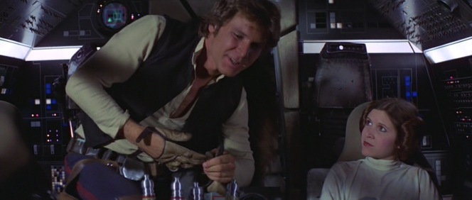 Han turns on the charm after assuming Leia would be impressed by his marksmanship.