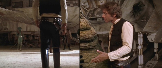 The details of Han's leather rig are best seen when he's talking to Jabba before leaving Tattooine.