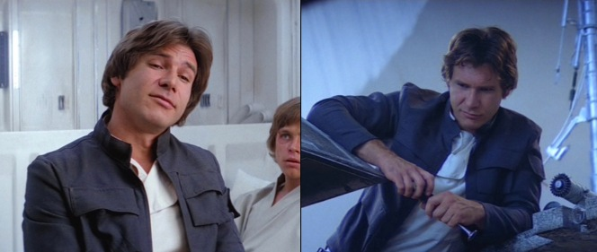 Luke appears pretty jealous that Han gets all the best costumes.