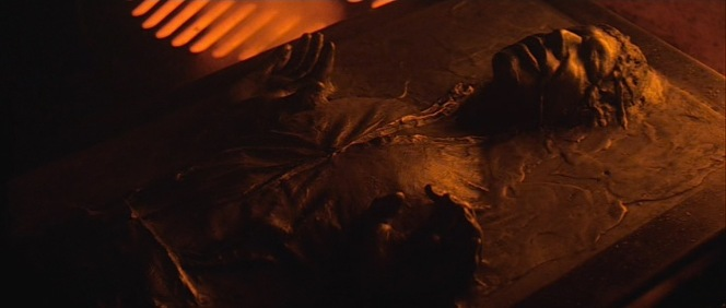 The shirt from A New Hope appears on the carbonite model of Han used in The Empire Strikes Back (here) and later in Return of the Jedi.