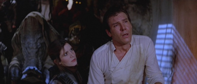 The sadistic Jabba even makes Han enter a wet t-shirt contest.