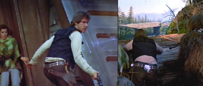 Han's easily-accessible holster comes in handy when battling it out against the Empire on Endor.