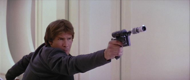 Han may believe in having a good blaster at his side, but Darth Vader proves that it's of no use to him against the Force in The Empire Strikes Back.