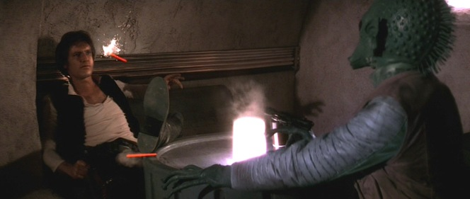Suck it, Greedo. My particular DVD may say otherwise but mark my words: Han shot first.