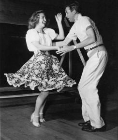 Donna and Jimmy master their steps while rehearsing in early '46.