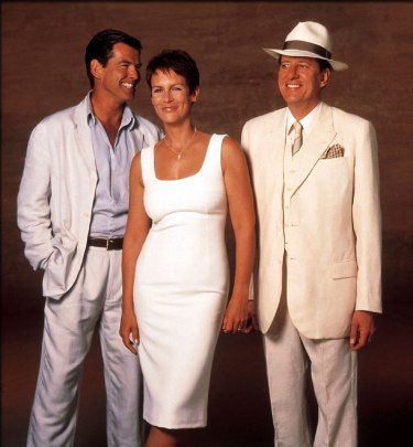Yukking it up with co-stars Pierce Brosnan, Jamie Lee Curtis, and Geoffrey Rush.