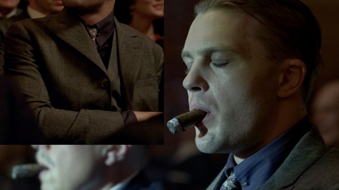 "The fine glen check of Jimmy's suits is most visible when he's listening to the Dempsey match broadcast in ""Battle of the Century"" (Episode 2.09)."