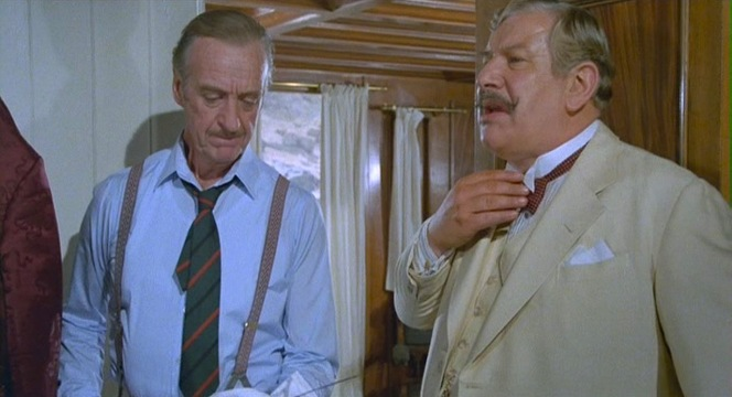 Race and Poirot exhibit very contrasting looks while traveling together up the Nile.