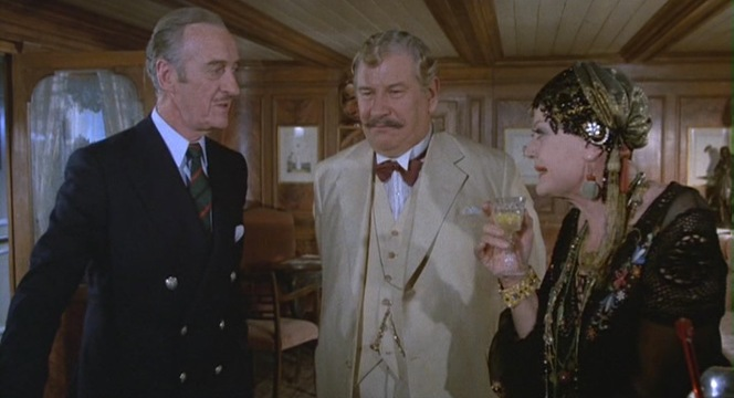 The three characters are easily characterized by their drinks of choice: The solidly British Colonel Race always sticks to his whiskey, the slightly snobbish Poirot is very particular about his wines and apertifs, and the flamboyant alcoholic erotic novelist Salome Otterbourne enjoys one of many Golden Sobeks... which evidently involve some crocodile-derived ingredient.