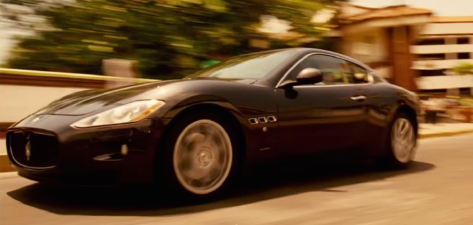 A shot from the Limitless trailer of Eddie's Maserati barreling through the streets of Puerto Vallarta.