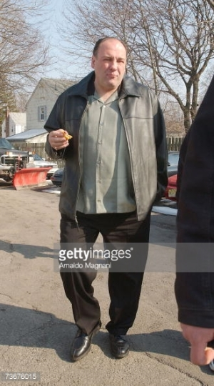 "A watermarked image of James Gandolfini on set during the filming of ""Made in America"" (Taken by Arnaldo Magnani for Getty Images, March 22, 2007.)"