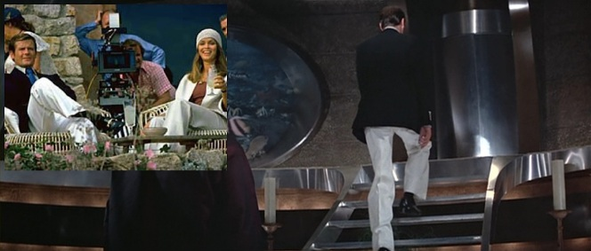Bond's bell bottoms provide both luxury during leisure and a dramatic, sweeping exit from a villain's lair.