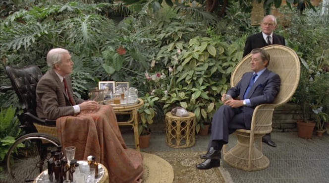 General Sternwood (James Stewart) discusses his preference for champagne and brandy with Philip Marlowe.