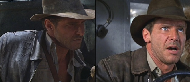 Although the jackets used in the production were new, the leather was always artificially aged by the costume team as seen here in Raiders of the Lost Ark and Indiana Jones and the Temple of Doom.